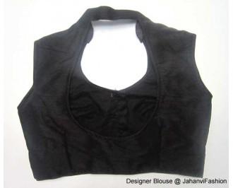 Banarsi Dupin Black Blouse with Collar