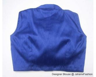Banarsi Dupin Blue Blouse with Collar