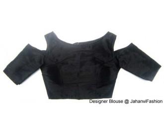 Banarsi Dupin Black Boat Neck Blouse with Cold Shoulder