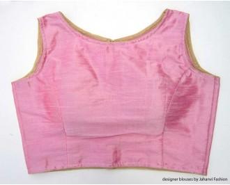 Banarsi Dupin Baby Pink Boat Neck Blouse