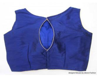 Banarsi Dupin Blue Boat Neck Blouse