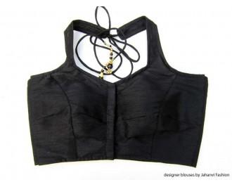 Banarsi Dupin Black Halter Style Blouse