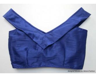 Banarsi Dupin Blue Off-Shoulder Blouse