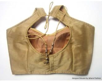 Banarsi Dupin Beige Semi-Halter Style Blouse