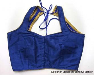 Banarsi Dupin Blue Semi-Halter Style Blouse