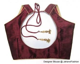 Banarsi Dupin Burgundi Semi-Halter Style Blouse