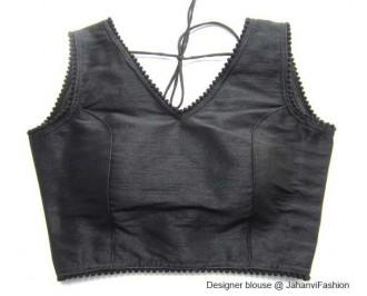 Banarsi Dupin Black V-Neck Blouse