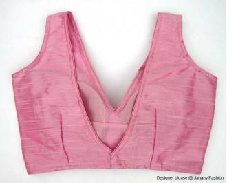 Banarsi Dupin Baby Pink V-Neck Blouse
