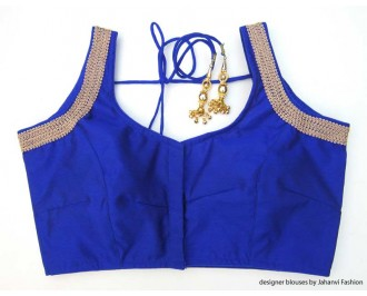 Banarsi Dupin Blue Sweet Heart Neck Blouse with 3 Line Lace on Shoulder