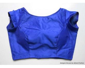 Banarsi Dupin Blue Boat Neck Blouse with Back Side Net