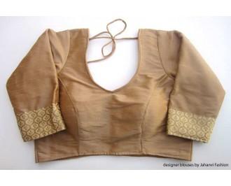 Banarsi Dupin Beige Brocade Belt with 3/4 Sleeves - Fish-cut