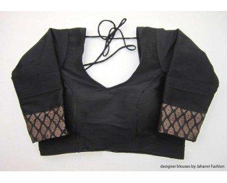 Banarsi Dupin Black Brocade Belt with 3/4 Sleeves - Fish-cut