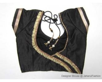 Banarsi Dupin Black Frill Design Round Neck Teera Blouse