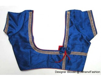 Banarsi Dupin Blue Butterfly Design with Round Neck Teera Style