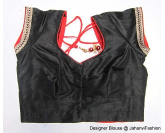 Banarsi Dupin Black Butterfly Design with Round Neck Teera Style