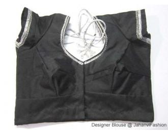 Banarsi Dupin Black with Silver Frill Round Neck Teera Style