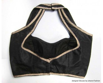 Banarsi Dupin Black Semi-Halter Style Blouse with 5Line Lace on Shoulder