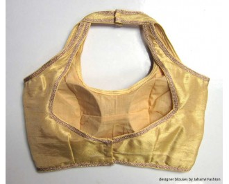 Banarsi Dupin Beige Semi-Halter Style Blouse with Lace