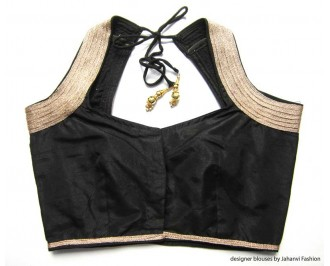 Banarsi Dupin Black Halter Style Blouse with 5Line Golden Lace