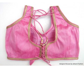 Banarsi Dupin Baby Pink Designer Lace Blouse with Back Side Loop Thread