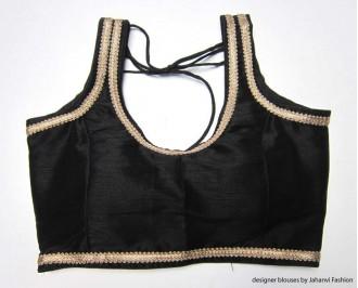Banarsi Dupin Black Designer Lace Blouse with Back Side Loop Thread