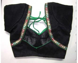Banarsi Dupin Black with Green Piping & Plastic Mirror Lace