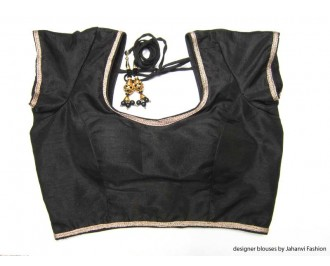 Banarsi Dupin Black with Golden Lace Overall Sweet Heart Neck