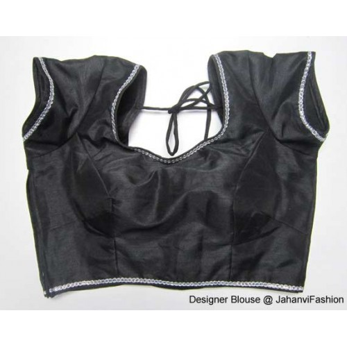 Banarsi Dupin Black Designer Back Neck with Silver Lace