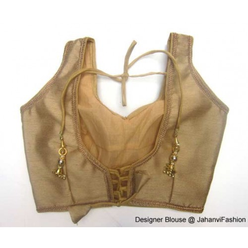 Banarsi Dupin Beige Designer Lace Blouse with Back Side Loop Dori