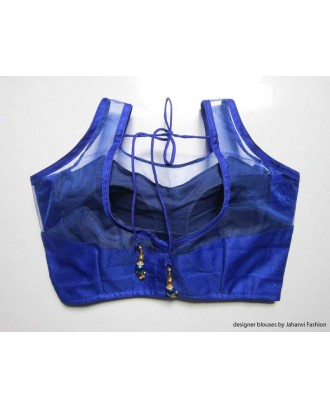 Banarsi Dupin Blue with Top Part Net Blouse Sleeveless