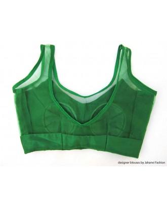 Banarsi Dupin Green with Top Part Net Blouse Sleeveless
