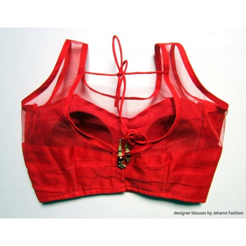 Banarsi Dupin Red with Top Part Net Blouse Sleeveless