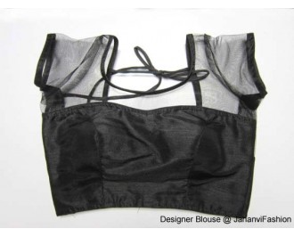 Banarsi Dupin Black with Top Part Net with Short Sleeves