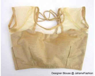 Banarsi Dupin Beige with Top Part Net with Short Sleeves