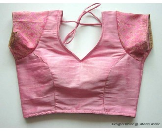 Banarsi Dupin Baby Pink Chandery Sleeves Blouse