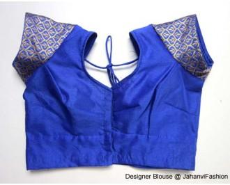 Banarsi Dupin Blue Chandery Sleeves Blouse