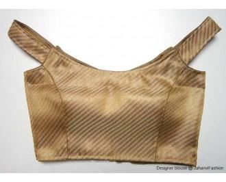 Brocade Blouse Off Shoulder Golden Wide Line