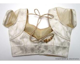Brocade Blouse Sweet Heart Neck Cream Leaf Net Sleeves