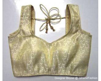 Brocade Blouse Sweet Heart Neck Golden Betels