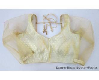 Brocade Blouse Sweet Heart Neck Golden Betels Net Sleeves