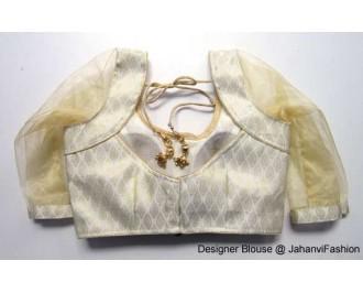 Brocade Blouse Sweet Heart Neck Golden Betels Ycut