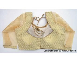 Brocade Blouse Sweet Heart Neck Golden Betels2 Y Cut