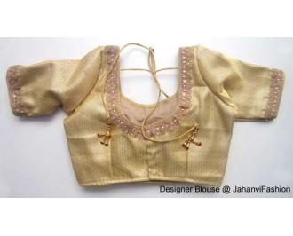 Brocade Blouse Sweet Heart Neck Golden Checks Zari Lace