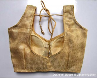 Brocade Blouse Sweet Heart Neck Golden Fine Checks