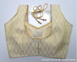 Brocade Blouse Sweet Heart Neck Golden Leaf Back Hooks