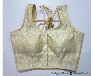 Brocade Blouse Sweet Heart Neck Golden Leaf Button Design