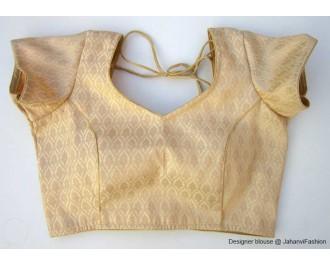 Brocade Blouse Sweet Heart Neck Golden Leaf Short Sleeves
