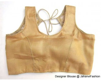 Brocade Blouse Sweet Heart Neck  Net Golden Waves