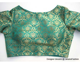 Pure Brocade Boat Neck Teal