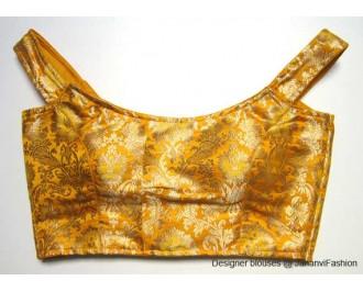 Pure Brocade Off Shoulder Blouse Deep Yellow